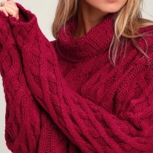 NWT! Lulus Cable Knit Cowl Neck Sweater